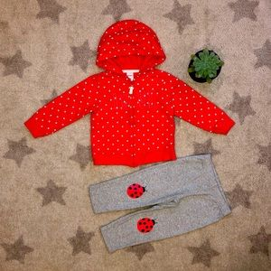 ❤️Carter's🐞Zip up Hoodie and Pants matching set